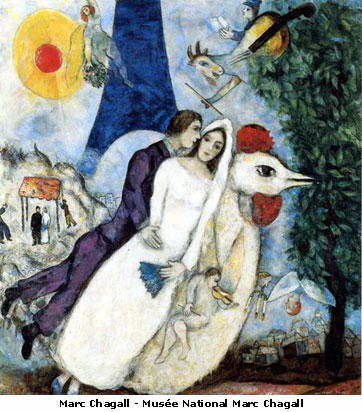 Fiancees of the Eiffel Tower by Marc Chagall