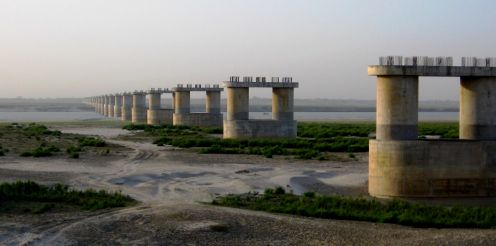 The bridge across the Ganges under construction on the western part of the town of Munger.
