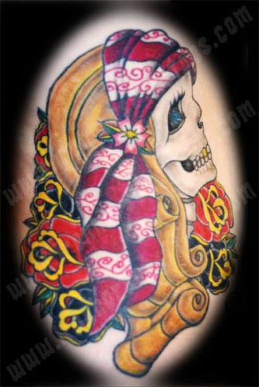 I gotta say I love this tattoo, tis a girly skull tattoo but jeeez tis a