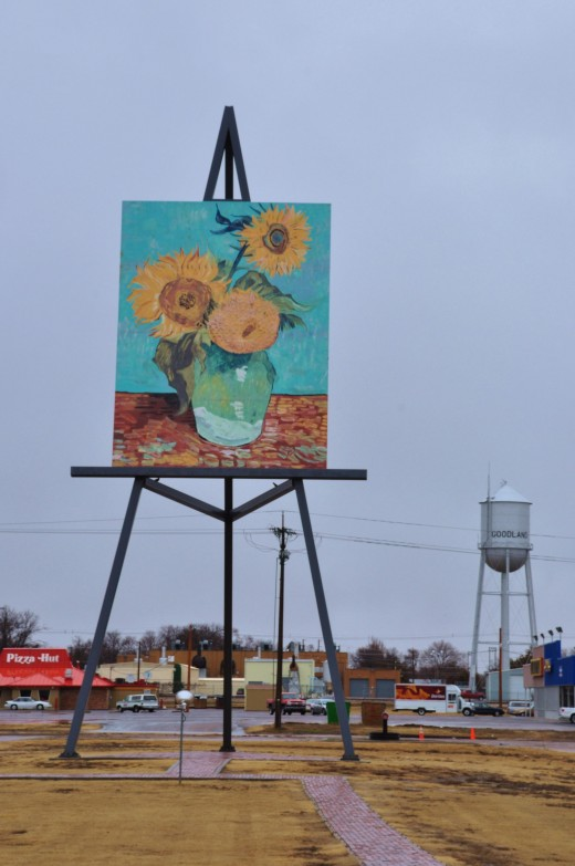 A large remake of a Van Gogh sunflower painting is proudly on display in Goodland, Kansas, one of half-dozen or so communities chosen to display the large works. Goodland was chosen for the sunflower painting because it is in the heart of the sunflow