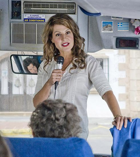 "Georgia (Nia Vardalos) on the bus with ""Group B"". Scene from ""My Life In Ruins""."