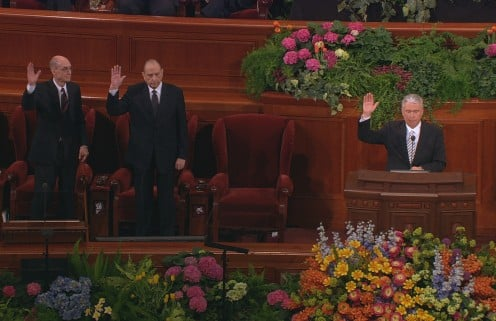 First Presidency of the LDS Church sustaining the call of Thomas S. Monson as President of the Church.