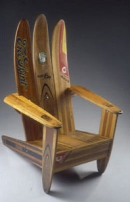 A Chair Made From Vintage Repurposed Water Skis