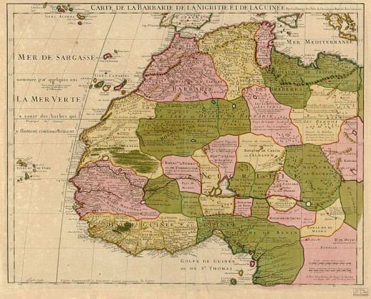 Old map of West Africa showing the Canary Islands and where San Borondon is said to be