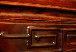 Close up of a rosewood Victorian desk.