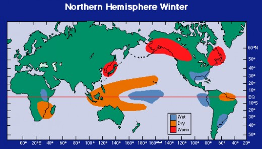 EFFECTS OF EL NINO during winter in the Northern Hemisphere (Courtesy of http://washingtondnr.files.wordpress.com/)