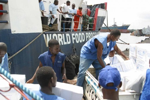WFP supplies being offloaded in Liberia