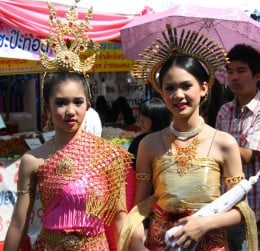 Local Chiang Mai Girls in Traditional Lanna Dress