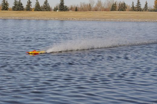 RC boat in action.