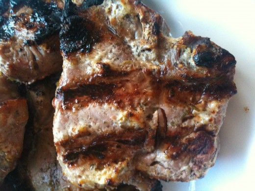 Perfectly cooked medium grilled lamb chop - mmmmm.