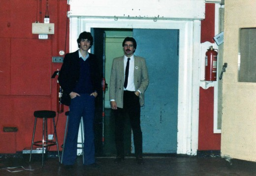 Paul & I standing, not in the dock at southampton but the doorway of studio two!
