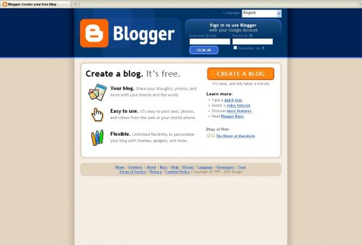 Logging into Blogger