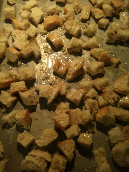 Making croutons is just toasting bread cubes with a little olive oil and seasonings...