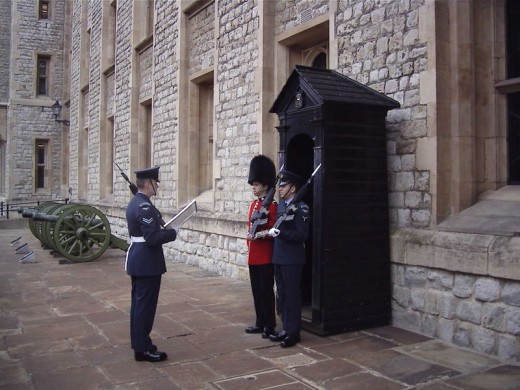 Sentries being posted at the Tower