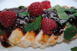Pan Seared Chicken with Raspberry Balsamic Reduction
