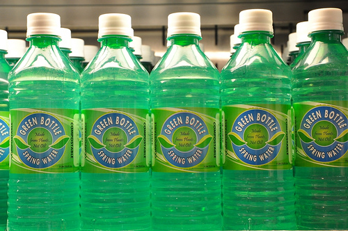 photo by MissTechmacher via Flickr.  These bottles are made of biodegradable plant matter.