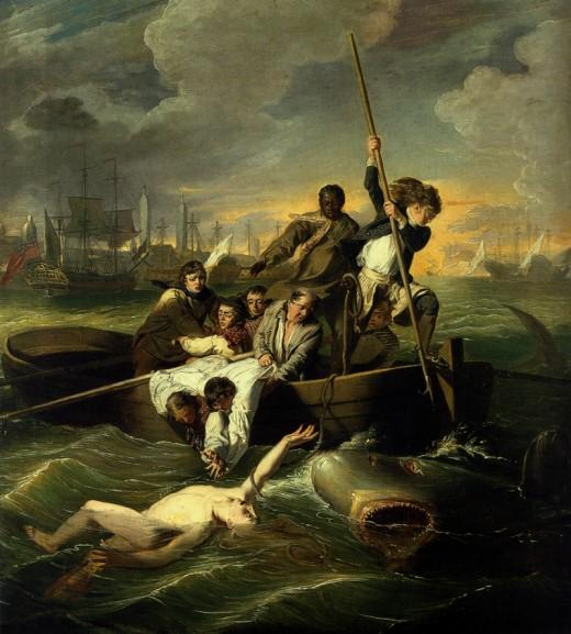 """WATSON AND THE SHARK"" BY JOHN SINGLETON COPLEY (1778)  MUSEUM OF FINE ARTS, BOSTON"