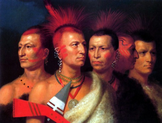 """YOUNG OMAHAW, WAR EAGLE, LITTLE MISSOURI, AND PAWNEES"" BY CHARLES BIRD KING (1821) SMITHSONIAN INSTITUTE"