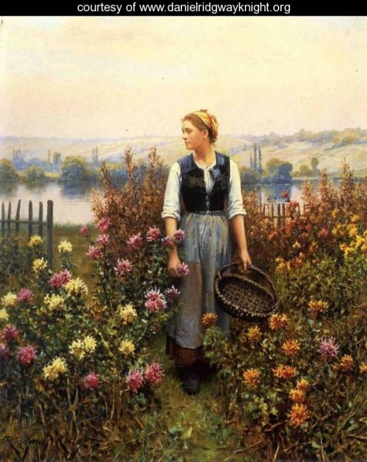 """GIRL WITH A BASKET IN A GARDEN"" BY DANIEL RIDGWAY KNIGHT  (1899)"