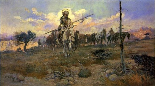 """BRINGING HOME THE SPOILS"" BY CHARLES MARION RUSSELL  (1909)"