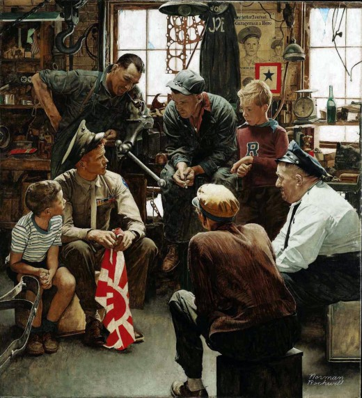 """HOMECOMING MARINE"" BY NORMAN ROCKWELL (1945)"