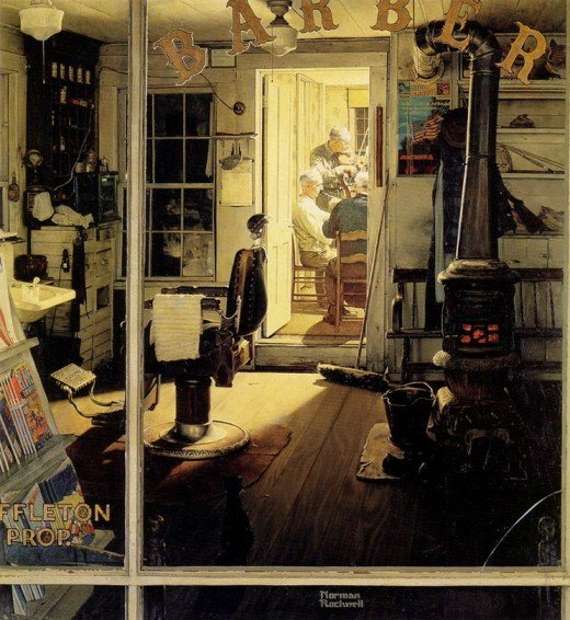 """SUFFLETON'S BARBER SHOP"" BY NORMAN ROCKWELL (1950)"