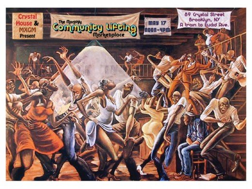 """SUGAR SHACK"" BY ERNIE BARNES (1976)"