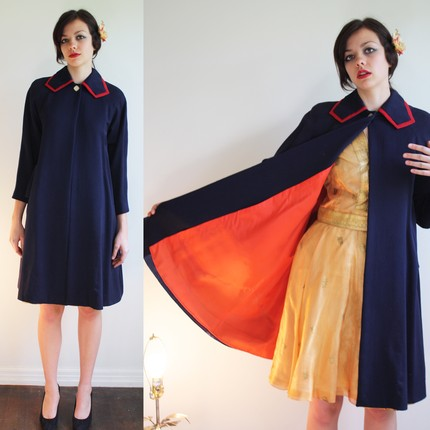 Rococo Vintage 1960s Stewardess Uniform Cape Coat Jacket