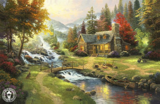 """MOUNTAIN PARADISE"" BY THOMAS KINKADE (2000)"
