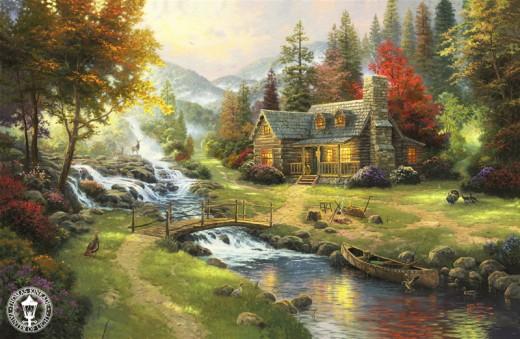 """""""MOUNTAIN PARADISE"""" BY THOMAS KINKADE (2000)"""
