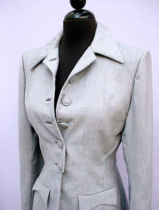 Elegant vintage 1950s Lady Simpson Original grey jacket Lined in grey crepe. Comes with a stash of extra buttons See Posh Vintage for purchasing information.