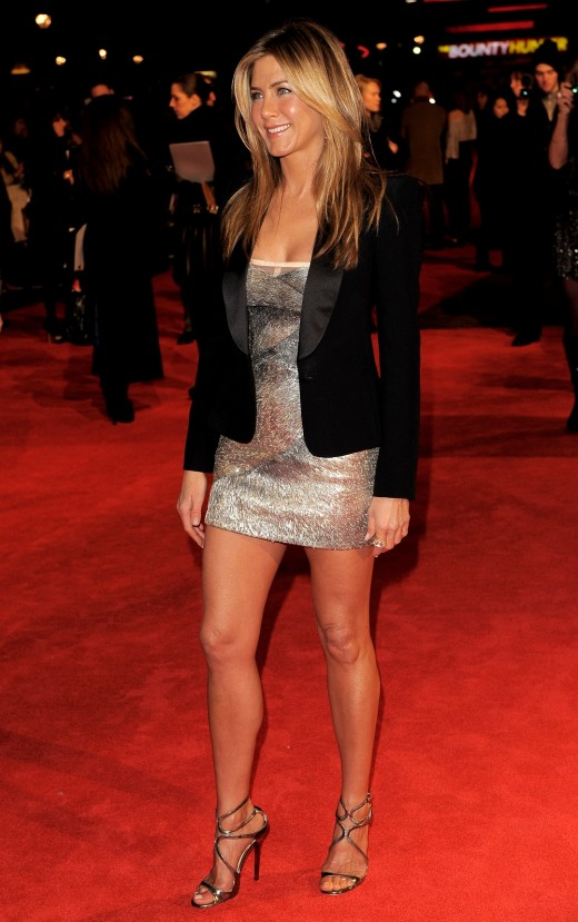 Jennifer Aniston in a silver mini dress and strappy high heels on the red carpet for The Bounty Hunter