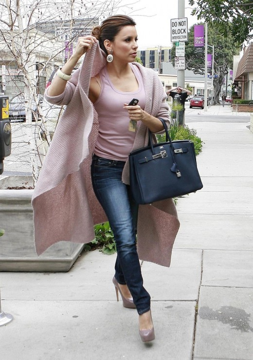 Eva Longoria in tight jeans and high heels going to Paves hair salon