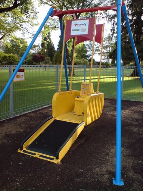 A swing built for wheelchair access playground swing in the Taupo Domain, Taupo, Waikato, New Zealand.
