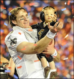 SUPERBOWL MVP DREW BREES AND HIS SON