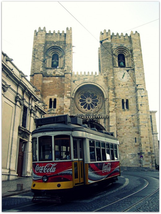 tram 28 and Lisboa Cathedral