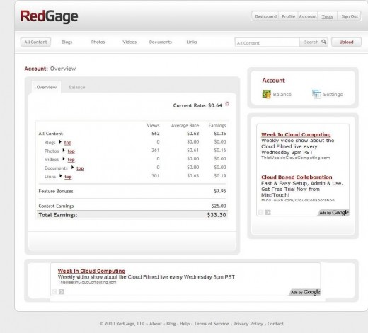 Screenshot from Mar 17, 2010, showing my new earnings jump to $33.30.