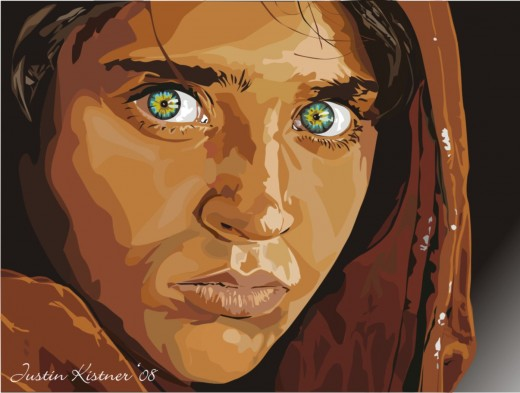Sharbat Gula, Afgan girl vectored. Beautiful eyes!