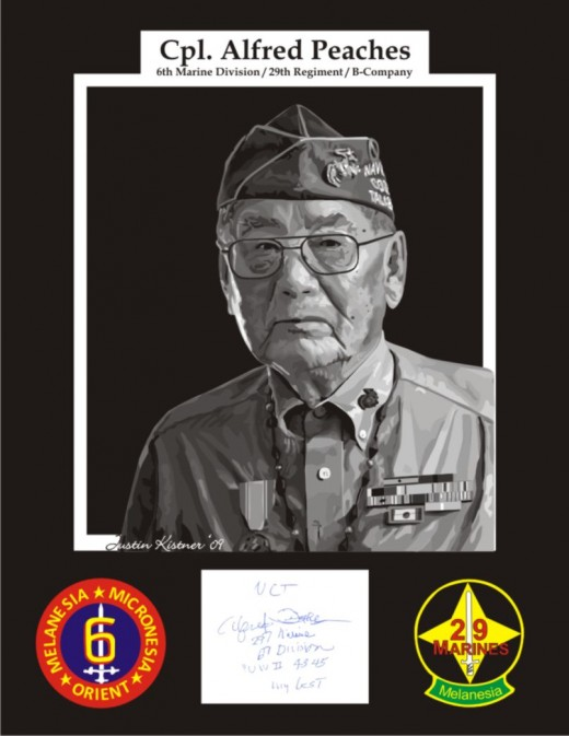 Navajo Code Talker Cpl. Alfred Peaches vectored and framed with autograph and patches. This piece took 16 hours to finish