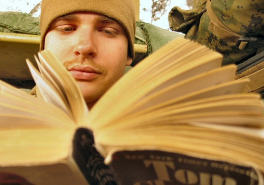 Reading, a classic way of getting rid of boredom.