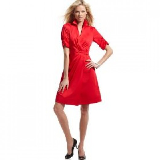 Short sleeve wrap dresses for petite women