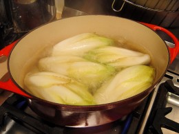 Simmer the chicons until just to say tender