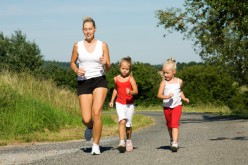 Exercise; bonding and fun times for moms and kids : Mothers with the children bonding exercises