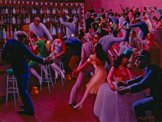 """NIGHTLIFE"" BY ARCHIBALD MOTLEY (1943) ART INSTITUTE OF CHICAGO"