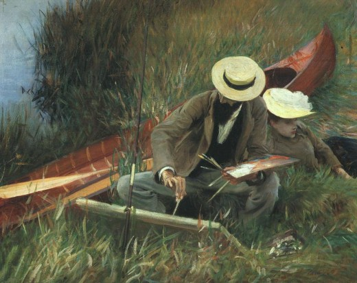 """PAUL HELLEU SKETCHING WITH HIS WIFE"" BY JOHN SINGER SARGENT (1889) THE BROOKLYN MUSEUM OF ART"
