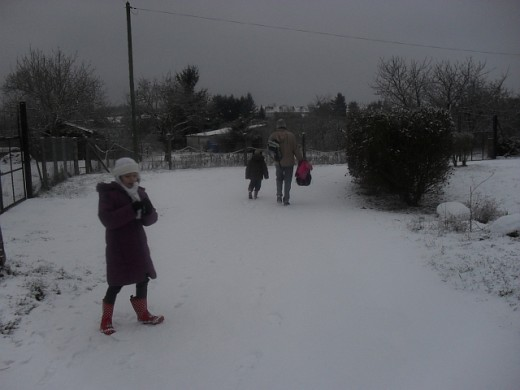 Walking to school on a snowy morning