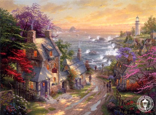 """VILLAGE LIGHTHOUSE"" BY THOMAS KINKADE (2008)"