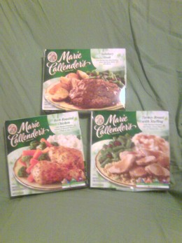 These are 3 Marie Calender's meals.On the left is herb roasted chicken at 460 calories, on top is Salisbury steak at 370 calories and to the right is Turkey and Stuffing at 350 calories they all weigh in at 14oz. which is sure to satisfy!