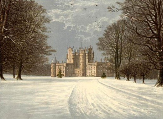 Glamis Castle in the snow, circa 1880.