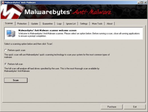 Malwarebytes' Anti-Malware Interface